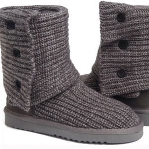Ugg Cardy Boot Classic Gray Knit Tall Foldover 7
